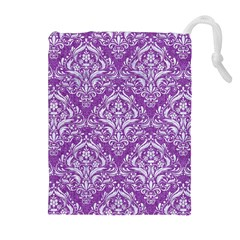 Damask1 White Marble & Purple Denim Drawstring Pouches (extra Large) by trendistuff