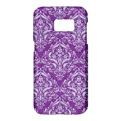 Damask1 White Marble & Purple Denim Samsung Galaxy S7 Hardshell Case  by trendistuff