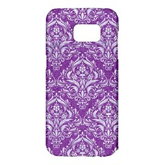 Damask1 White Marble & Purple Denim Samsung Galaxy S7 Edge Hardshell Case by trendistuff