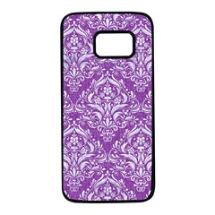 Damask1 White Marble & Purple Denim Samsung Galaxy S7 Black Seamless Case by trendistuff