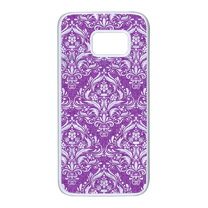 DAMASK1 WHITE MARBLE & PURPLE DENIM Samsung Galaxy S7 White Seamless Case