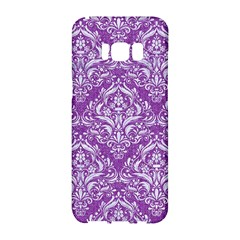 Damask1 White Marble & Purple Denim Samsung Galaxy S8 Hardshell Case  by trendistuff