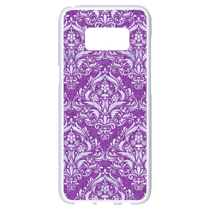 DAMASK1 WHITE MARBLE & PURPLE DENIM Samsung Galaxy S8 White Seamless Case