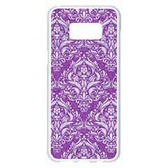 Damask1 White Marble & Purple Denim Samsung Galaxy S8 Plus White Seamless Case by trendistuff