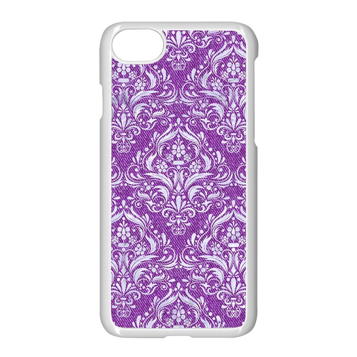 DAMASK1 WHITE MARBLE & PURPLE DENIM Apple iPhone 8 Seamless Case (White)