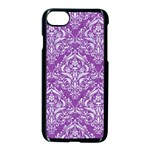 DAMASK1 WHITE MARBLE & PURPLE DENIM Apple iPhone 8 Seamless Case (Black) Front
