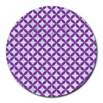 CIRCLES3 WHITE MARBLE & PURPLE DENIM (R) Round Mousepads Front