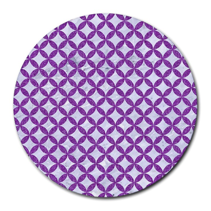 CIRCLES3 WHITE MARBLE & PURPLE DENIM (R) Round Mousepads