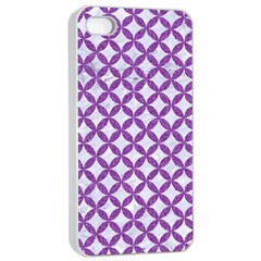 Circles3 White Marble & Purple Denim (r) Apple Iphone 4/4s Seamless Case (white) by trendistuff