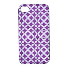 Circles3 White Marble & Purple Denim Apple Iphone 4/4s Hardshell Case With Stand by trendistuff