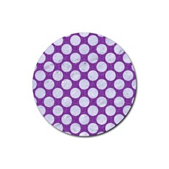 Circles2 White Marble & Purple Denim Rubber Coaster (round)  by trendistuff