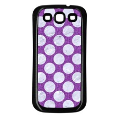 Circles2 White Marble & Purple Denim Samsung Galaxy S3 Back Case (black) by trendistuff