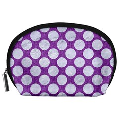 Circles2 White Marble & Purple Denim Accessory Pouches (large)