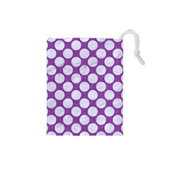 Circles2 White Marble & Purple Denim Drawstring Pouches (small)  by trendistuff