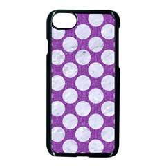 Circles2 White Marble & Purple Denim Apple Iphone 7 Seamless Case (black) by trendistuff