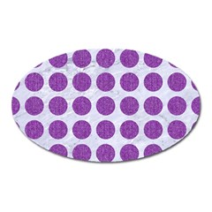 Circles1 White Marble & Purple Denim (r) Oval Magnet by trendistuff