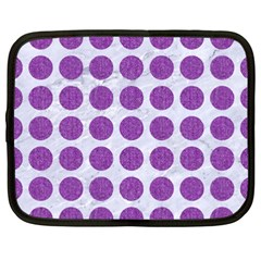 Circles1 White Marble & Purple Denim (r) Netbook Case (xxl)  by trendistuff