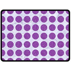 Circles1 White Marble & Purple Denim (r) Double Sided Fleece Blanket (large)  by trendistuff