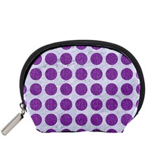Circles1 White Marble & Purple Denim (r) Accessory Pouches (small)  by trendistuff