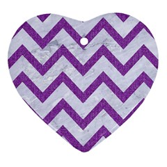 Chevron9 White Marble & Purple Denim (r) Heart Ornament (two Sides) by trendistuff