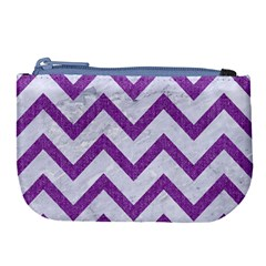 Chevron9 White Marble & Purple Denim (r) Large Coin Purse by trendistuff