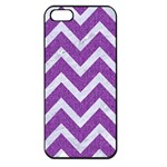 CHEVRON9 WHITE MARBLE & PURPLE DENIMChevron9 White Marble & Purple Denim Apple iPhone 5 Seamless Case (Black) Front
