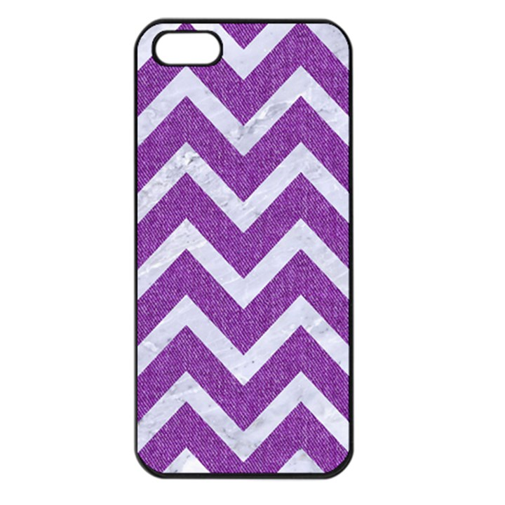 CHEVRON9 WHITE MARBLE & PURPLE DENIMChevron9 White Marble & Purple Denim Apple iPhone 5 Seamless Case (Black)