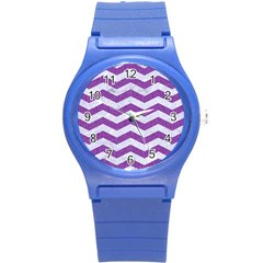 Chevron3 White Marble & Purple Denim Round Plastic Sport Watch (s) by trendistuff