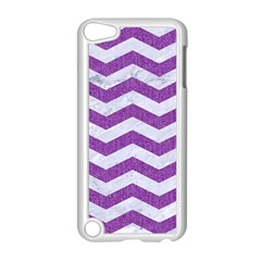 Chevron3 White Marble & Purple Denim Apple Ipod Touch 5 Case (white) by trendistuff