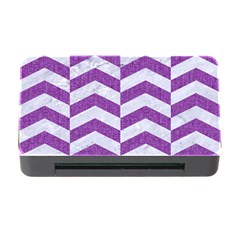 Chevron2 White Marble & Purple Denim Memory Card Reader With Cf by trendistuff