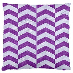 Chevron2 White Marble & Purple Denim Large Cushion Case (two Sides) by trendistuff