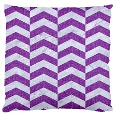 Chevron2 White Marble & Purple Denim Large Flano Cushion Case (one Side) by trendistuff