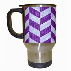 Chevron1 White Marble & Purple Denim Travel Mugs (white) by trendistuff