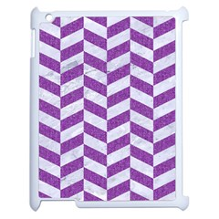 Chevron1 White Marble & Purple Denim Apple Ipad 2 Case (white) by trendistuff