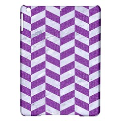 Chevron1 White Marble & Purple Denim Ipad Air Hardshell Cases by trendistuff