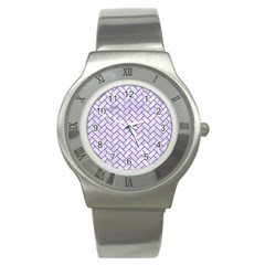 Brick2 White Marble & Purple Denim (r) Stainless Steel Watch by trendistuff