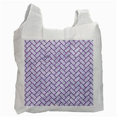 Brick2 White Marble & Purple Denim (r) Recycle Bag (two Side)  by trendistuff