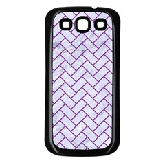 Brick2 White Marble & Purple Denim (r) Samsung Galaxy S3 Back Case (black) by trendistuff