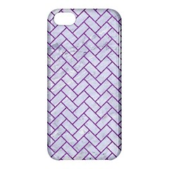 Brick2 White Marble & Purple Denim (r) Apple Iphone 5c Hardshell Case by trendistuff
