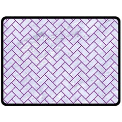 Brick2 White Marble & Purple Denim (r) Double Sided Fleece Blanket (large)  by trendistuff
