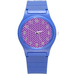 Brick2 White Marble & Purple Denim Round Plastic Sport Watch (s) by trendistuff
