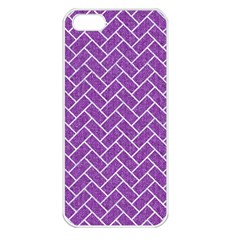 Brick2 White Marble & Purple Denim Apple Iphone 5 Seamless Case (white) by trendistuff
