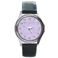 Brick1 White Marble & Purple Denim (r) Round Metal Watch by trendistuff