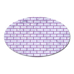 Brick1 White Marble & Purple Denim (r) Oval Magnet by trendistuff