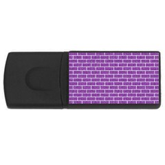 Brick1 White Marble & Purple Denim Rectangular Usb Flash Drive