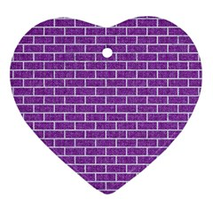 Brick1 White Marble & Purple Denim Heart Ornament (two Sides) by trendistuff