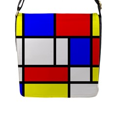 Piet Mondrian Mondriaan Style Flap Messenger Bag (l)  by yoursparklingshop