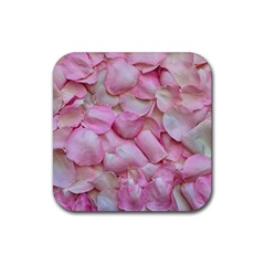 Romantic Pink Rose Petals Floral  Rubber Coaster (square)  by yoursparklingshop