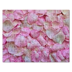 Romantic Pink Rose Petals Floral  Rectangular Jigsaw Puzzl by yoursparklingshop