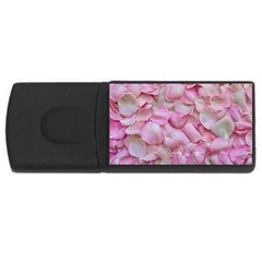 Romantic Pink Rose Petals Floral  Rectangular Usb Flash Drive by yoursparklingshop
